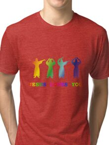Jesus Loves You (YMCA Image & Slogan) Tri-blend T-Shirt