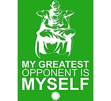 Picollo - My Greatest Opponent Is Myself - White Photographic Print
