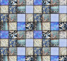 Faux Patchwork Quilting - Blues  by Gravityx9