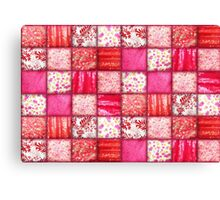 Faux Patchwork Quilting - Pink and Red Canvas Print