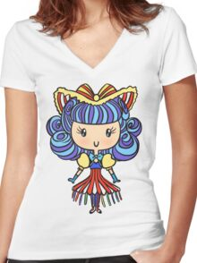 Lil' CutiE - Cha Cha Girl Women's Fitted V-Neck T-Shirt