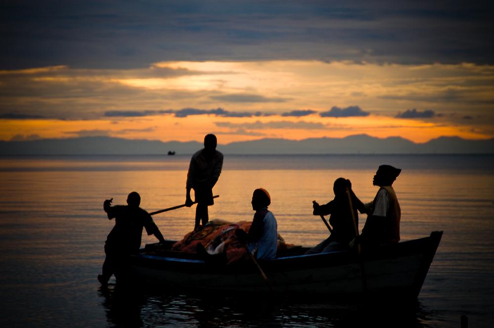 Happy Fishermen, Lake Malawi by Tim Cowley