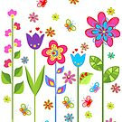 Cute Colorful Cartoon Spring Flowers by artonwear