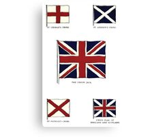 A Complete Guide To Heraldry - Plate IX - Flags - St. George's Cross, St. Andrew's Cross, The Union Jack, St. Patrick's Cross, Union Flag of England and Scottland Canvas Print