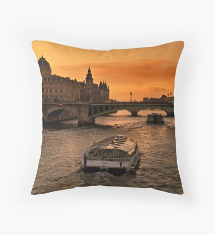 Sunset by the Seine. Throw Pillow