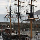 Tall ship at the inner harbour, Charlestown England by 1throughmyeyes