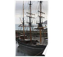 Tall ship at the inner harbour, Charlestown England Poster