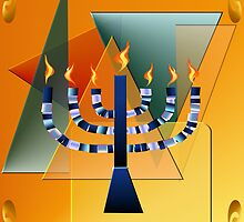 Menorah with shapes by Lotacats