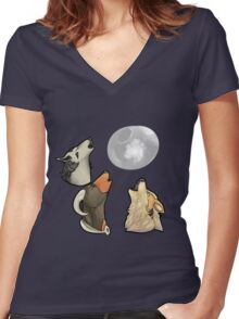 3 PokeMoon Women's Fitted V-Neck T-Shirt