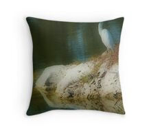 The Dreamer : the Egret Throw Pillow