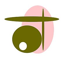 Salmon pink, olive green, modern Photographic Print