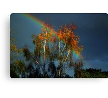 Golden tree at the end of the rainbow Canvas Print