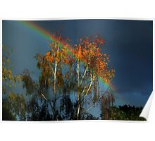 Golden tree at the end of the rainbow Poster