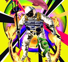 Zandozan Jumps the Flaming Hoop in the Rays of Neptune with a Boom Box and a Pink Dolphin by zandozan