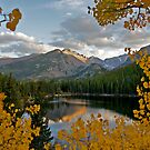 Bear Lake Framed with Aspens by Robert Yone
