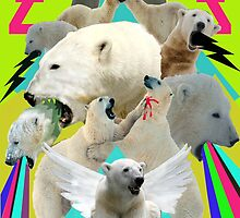 Flying Polar Bears Vomit Rainbows and Black Lightning by zandozan