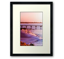Crashing waves as the sun rises at Beachport Framed Print