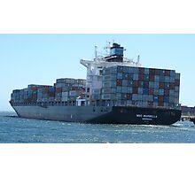 Cargo ship leaving leaving Fremantle docks.  Photographic Print