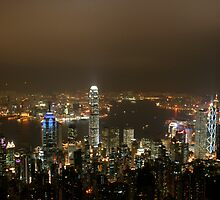 night hong kong cityscape by nastrome