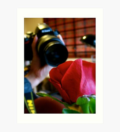 The Camera and the Rose. Art Print
