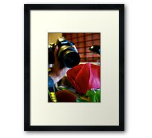 The Camera and the Rose. Framed Print