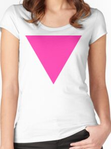pink triangle Women's Fitted Scoop T-Shirt