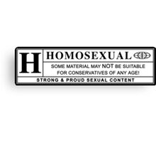 homosexual warning label Canvas Print