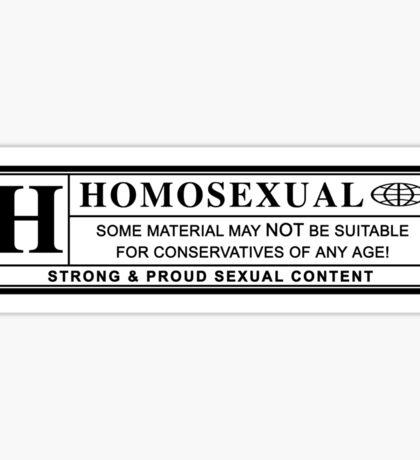 homosexual warning label Sticker