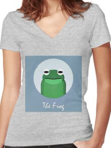The Frog Cute Portrait Women's Fitted V-Neck T-Shirt