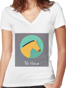The Horse Cute Portrait Women's Fitted V-Neck T-Shirt
