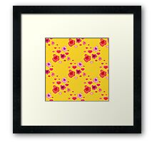 seamless pattern with roses and hearts on the yellow Framed Print