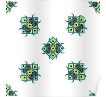 seamless pattern with square ornament on the white background Poster