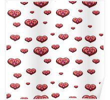 seamless pattern with volumetric hearts on the white background Poster