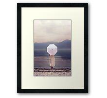 white parasol Framed Print