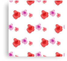 Spring seamless pattern with roses on the white background Canvas Print
