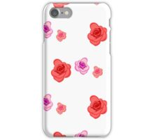Spring seamless pattern with roses on the white background iPhone Case/Skin