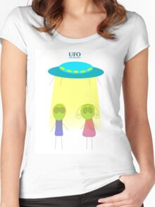 UFO vector illustration wiht flying saucer on the white background Women's Fitted Scoop T-Shirt