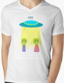 UFO vector illustration wiht flying saucer on the white background Mens V-Neck T-Shirt