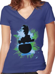Super Smash Bros. Larry Silhouette Women's Fitted V-Neck T-Shirt