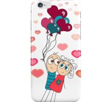 Valentine card with flying a pair of lovers on the balls on a white background iPhone Case/Skin