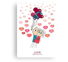 Valentine card with flying a pair of lovers on the balls on a white background Canvas Print