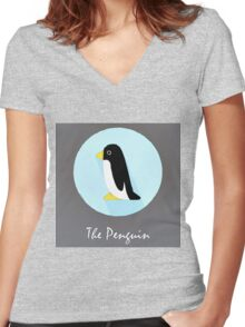 The Penguin Cute Portrait Women's Fitted V-Neck T-Shirt