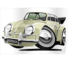 VW Beetle Convertible Cabriolet cream Poster