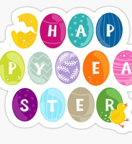 happy easter colorful eggs with little chicken Sticker