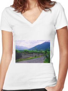 Valley of Vineyards Women's Fitted V-Neck T-Shirt