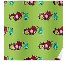 seamless pattern with dragon and the bear Poster