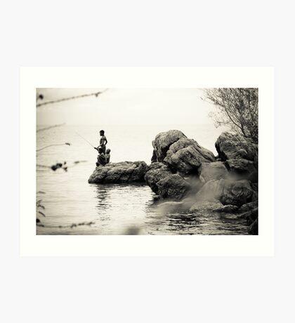 Boys Fishing, Malawi Art Print