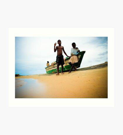 Village boys, Nkhotakota, Malawi Art Print