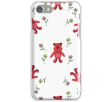 seamless pattern with red bears iPhone Case/Skin