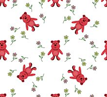 seamless pattern with red bears by Ann-Julia